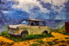 Oil painting old car on a sea. Oil painting old car on a background of sea landscape Stock Images