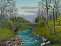 Old stone bridge over a small river. Oil painting of an old stone bridge over a little river vector illustration