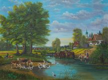 Painting of the life at the river at the edge of a village stock image