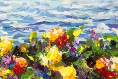 Oil painting and palette knife close-up. Yellow red violet flowers in a green grass against a background of blue sea waves. Fragme. Abstract impressionism floral royalty free stock photo