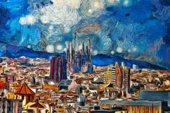 Oil painting panoramic view in Barcelona. Spain Royalty Free Stock Photos