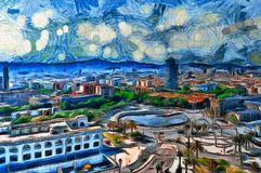 Oil painting panoramic view in Barcelona. Spain Royalty Free Stock Photography