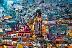 Oil painting panoramic view in Barcelona. Spain Stock Photo