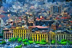 Oil painting panoramic view in Barcelona. Spain Royalty Free Stock Photo