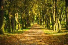 Oil painting pathway through the autumn forest. Royalty Free Stock Image
