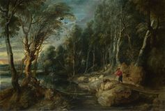 Peter Paul Rubens - A Shepherd with his Flock in a Woody Landscape stock images