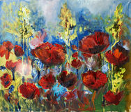 Oil painting picture of red spring poppy. Painting picture of blooming spring poppy field oil painted on canvas Stock Photo
