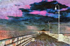 Oil painting of pier. Original oil painting of wooden beach pier background Royalty Free Stock Image