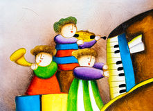 Oil Painting - Playing Piano Royalty Free Stock Images
