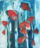 Oil painting poppy. Expression oil painting poppy flowers