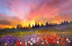 Oil painting poppy, dandelion, daisy flowers in fields. Sunset meadow landscape with wildflower, hill, sky in orange and blue violet color background. Hand Stock Image