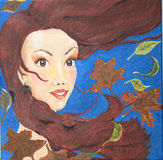 Oil painting Portrait of woman in autumn Royalty Free Stock Photography