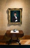 Oil Painting Portrait Rich Wealthy Man Art Gallery. A portrait of a rich or wealthy man. The oil painting is hanging in an art gallery or museum royalty free stock photo