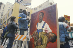 Oil painting protesting violence,  Los Angeles, California Stock Images