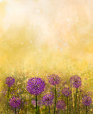 Oil painting Purple onion flower in the meadows. Onion Field at Sunset in soft colorful and blur style with bokeh. Spring floral nature background Royalty Free Stock Photography