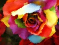 Oil painting rainbow rose Stock Photos