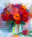 Oil painting red gerbera flowers in vase Stock Photos