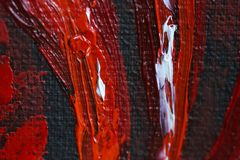 Oil painting red hot chili peppers on canvas. Piece of red chili peppers. Black and red. Oil paints. Close-up. Macro. Copy space. Background, texture. Paprika stock illustration