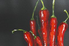 Oil painting red hot chili peppers on canvas. Piece of red chili peppers. Black and red. Oil paints. Close-up. Macro. Copy space. Background, texture. Paprika vector illustration
