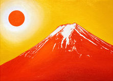 Oil painting, Red Mt.Fuji in June, 2017. Oil painting illustration`Red Mt.Fuji in June, 2017`from Fujiyoshida City, Japan Royalty Free Stock Photos