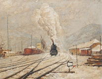 Oil painting representing old train station Stock Images