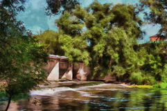 Oil painting river dam on a summer day. Oil painting river dam on a hot summer day Stock Images