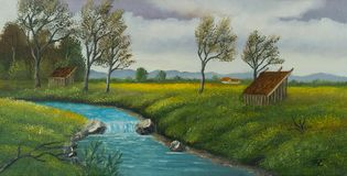 River landscape with barn and individual trees stock illustration