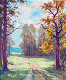Oil painting - road through the forest Stock Image