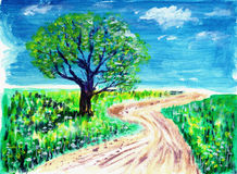 Oil painting road and tree. On paper Stock Photography