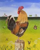 Painting Rooster outdoor royalty free stock photography