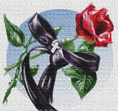 Oil painting: Rose and ribbon. Computer generated illustration of a rose and a ribbon - Oil painting version - Canvas effect vector illustration