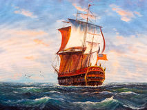 Oil Painting - Sailing Boat Royalty Free Stock Photography