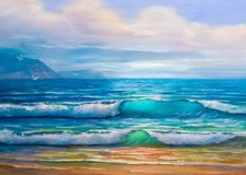Oil painting of the sea on canvas. Blue, tropical sea and beach.Sketch of the painting royalty free stock image