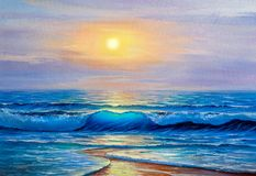 Oil painting of the sea on canvas. royalty free illustration