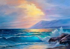 Oil painting of the sea on canvas. Morning on sea, wave, illustration, oil painting on a canvas royalty free illustration