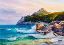 Oil painting of the sea on canvas. vector illustration