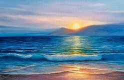 Oil painting of the sea on canvas. stock photography