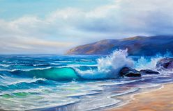 Oil  painting of the sea on canvas. Original oil painting seascape, waves of the sea, blue sky, clouds, on canvas. Impasto artwork Royalty Free Stock Images