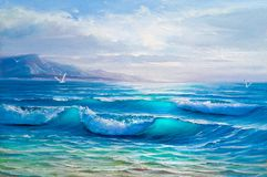 Oil painting of the sea on canvas.Sketch. Blue, tropical sea and beach.Sketch of the painting stock image