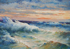 Oil painting - sea waves. Beautiful oil painting showing huge sea waves during the storm Royalty Free Stock Photo