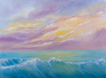 Oil painting of sea waves Stock Photos