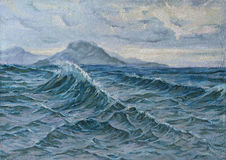Oil painting of a seascape Stock Photos