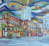 Oil painting of Seattle downtown. Modern city. Stock Photography