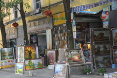 The Oil painting shop in SHENZHEN Stock Images