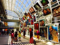 Oil painting show in Hong Kong International Airport. Oil painting exhibition in Hong Kong International Airport Royalty Free Stock Image