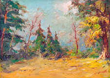 Oil painting showing colorful forest Stock Photography