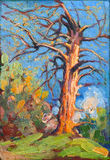 Oil painting showing dead tree Royalty Free Stock Photos