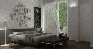 Oil painting showing modern bedroom with big window, abstract in Royalty Free Stock Photography