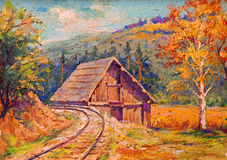 Oil painting showing railway tracks Royalty Free Stock Photos