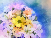 Oil Painting Soft colorful Bouquet of rose, daisy, lily and gerbera. Flower. Hand Painted floral, Still life of white color flowers with soft pink and purple Royalty Free Stock Photography